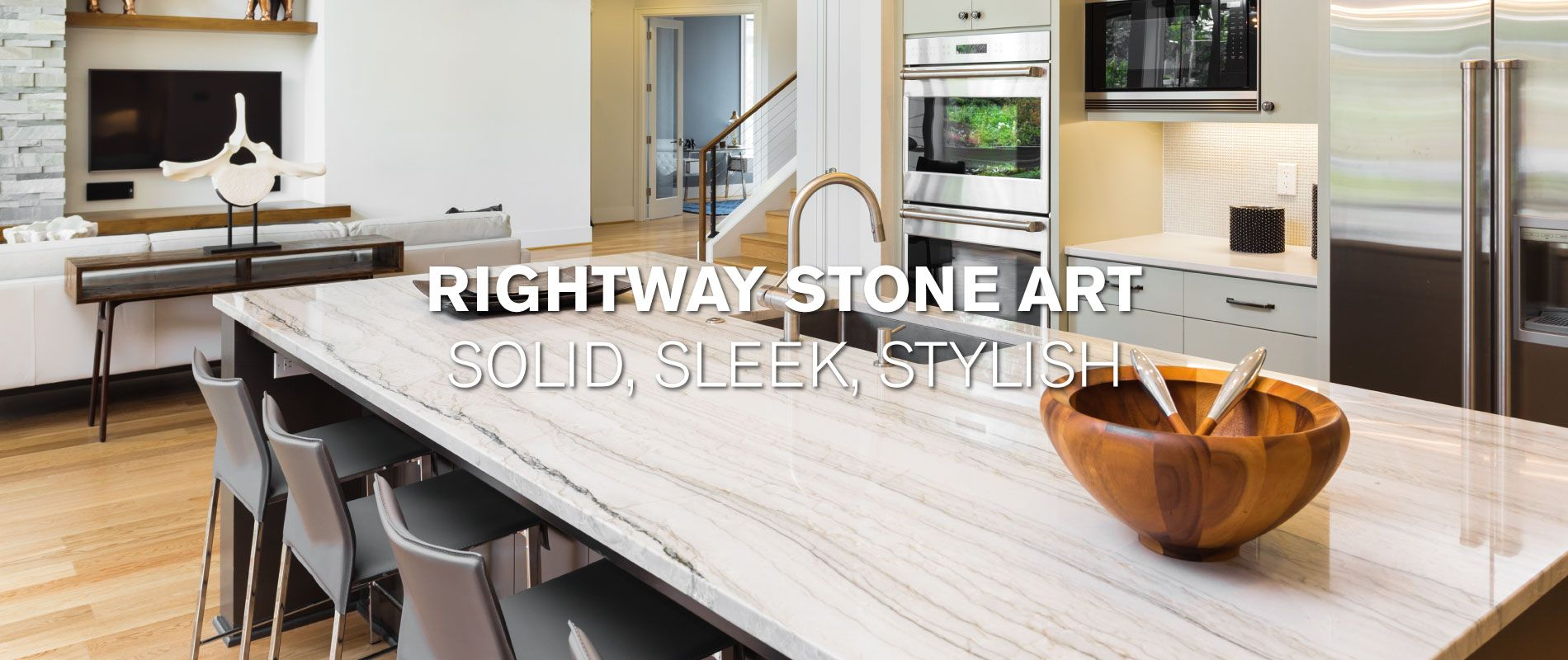 Rightway Stone Art | Solid, Sleek, Stylish | Modern Kitchen with stone island